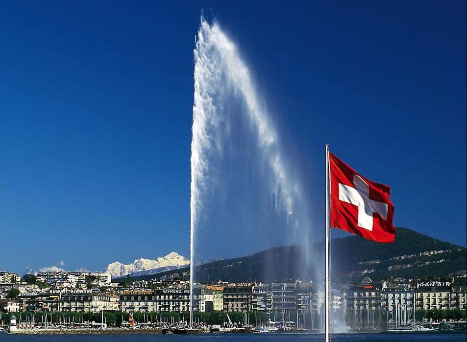 Paysage Genève jet d'eau