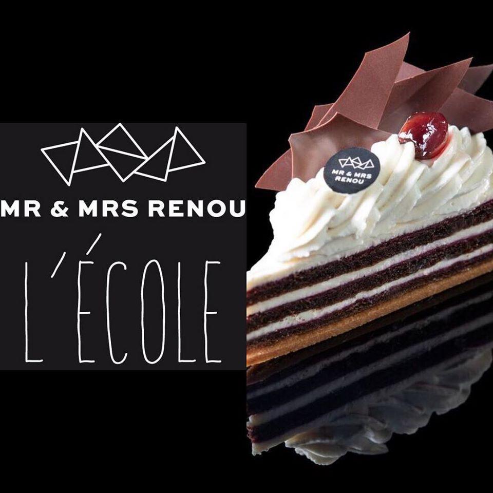 Logo Ecole Renou avec part de gâteau
