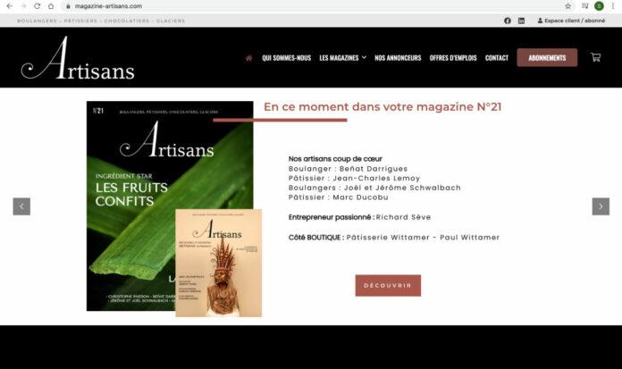 Capture d'écran du magazine Artisans