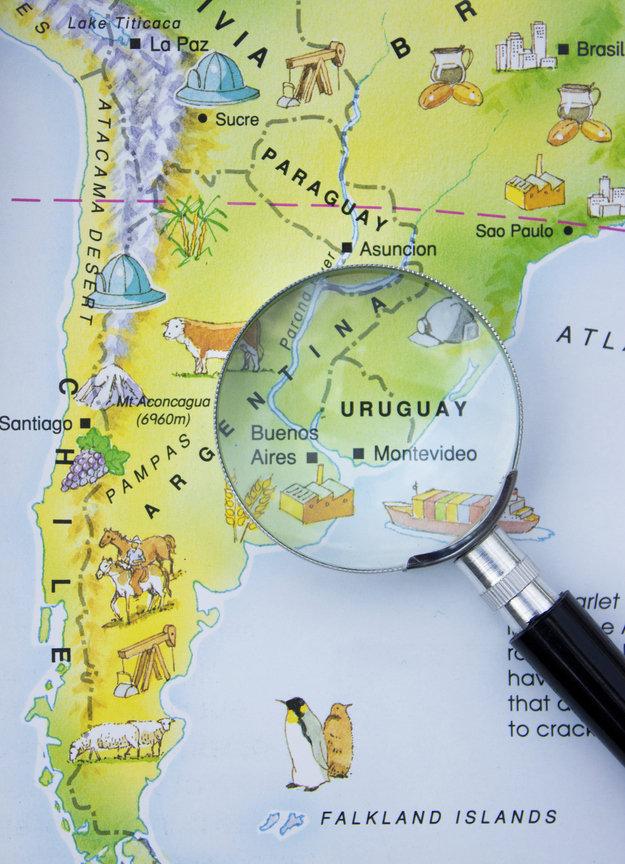 Un pays niche entre l'Argentine le Brésil et le Paraguay
